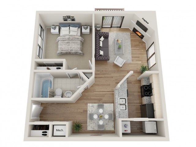 Snowbird floorplan | South Summit Apartments