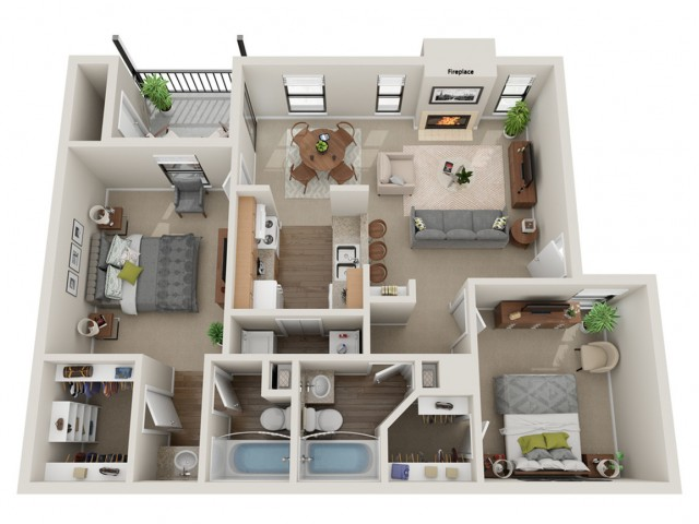 Derby Floorplan | Vanderbilt Apartments