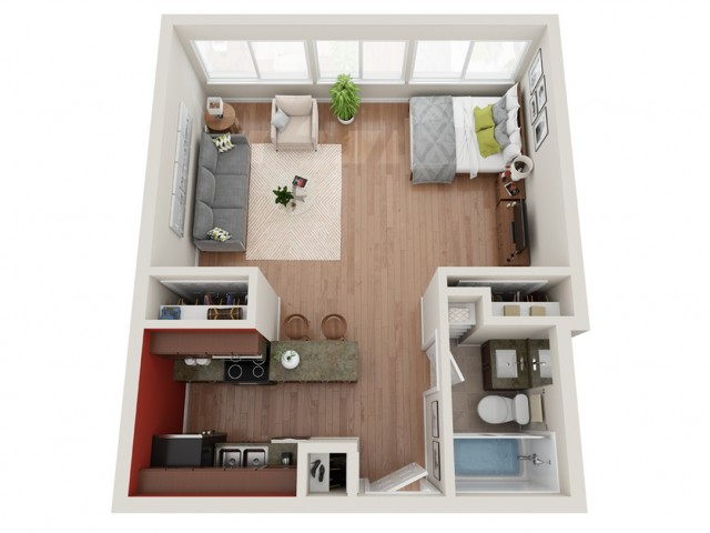 Studio Floor Plan | Apartments St. Louis | Del Coronado