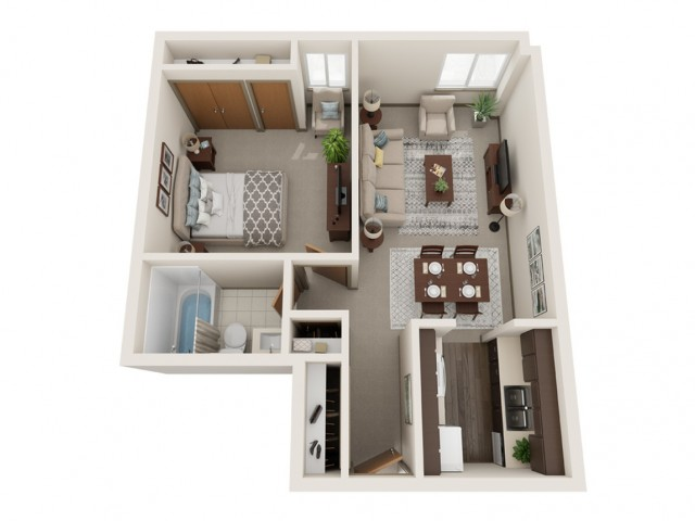 1 Bedroom Floor Plan | St. Louis Apartments | Del Coronado