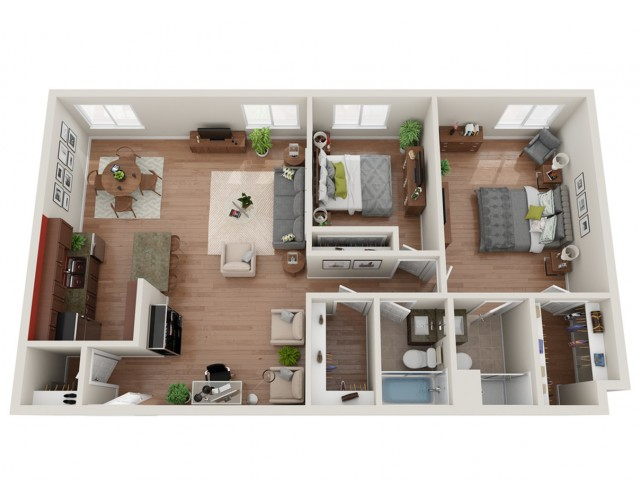 2 Bedroom Floor Plan | Apartments St. Louis | Del Coronado