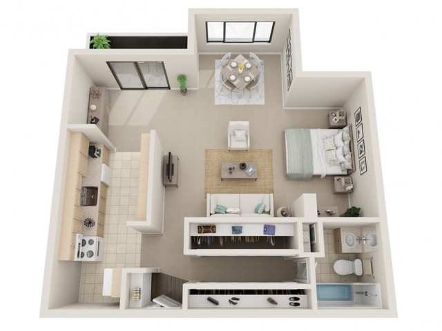 Studio Floorplans | Fontainebleau Apartments | St. Louis Apartments