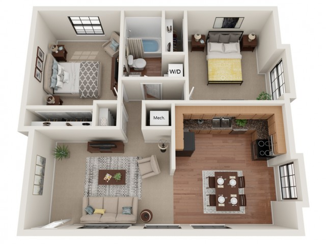 2 Bedroom Floor Plan | apartments for rent in arnold mo | Richardson Place