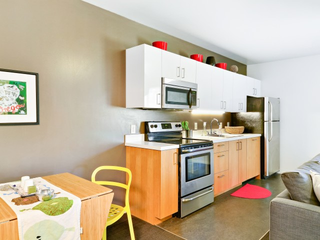 Image of Stainless Steel Appliances for Skybox Apartments