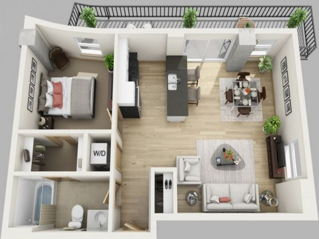 1 Bed, 1 Bath Deluxe Opt A