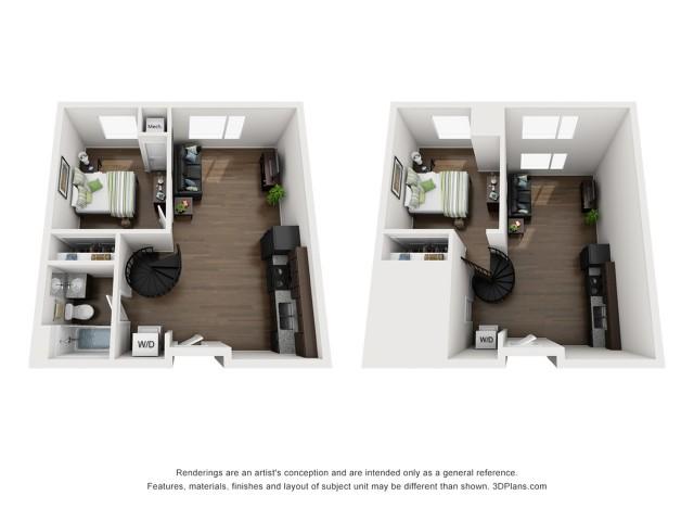 Two Bedroom One Bathroom Loft