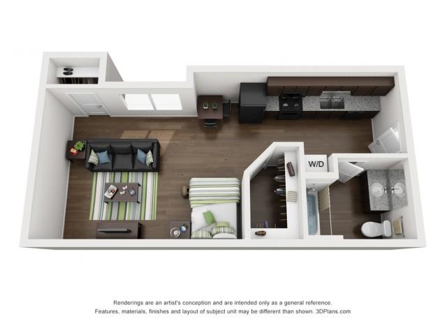 Studio apartment floor plan 312 Elm Street Prime Place Stillwater