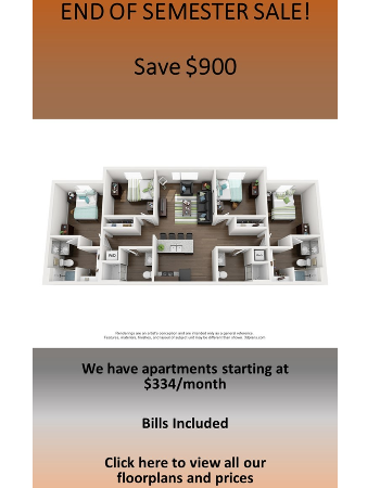 All Floor Plans Are $75/month Off
