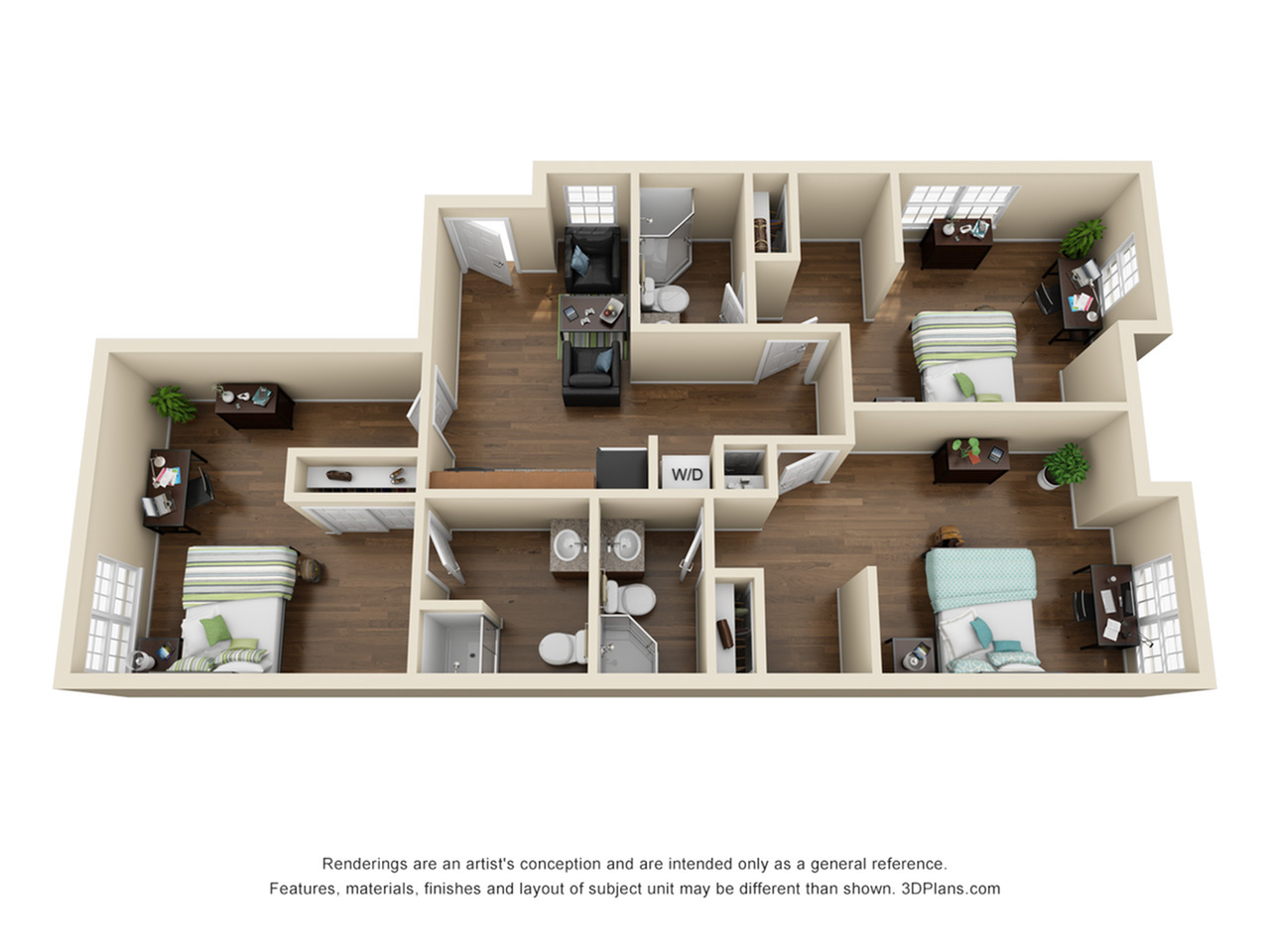 3 Studio Suites shown (with shared common area)