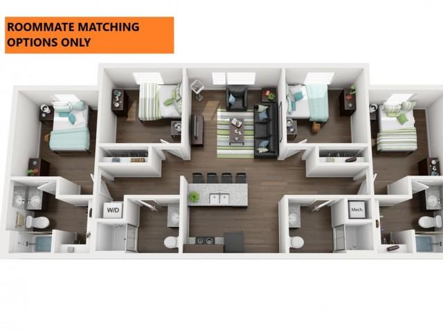 Roommate Matching Only. 4 bedroom 4 bathroom apartment floor plan 312 Elm Street Prime Place Stillwater