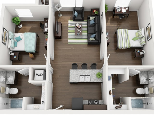 2 bedroom 2 bathroom apartment floor plan 213 Elm Street Prime Place Stillwater