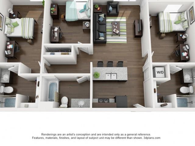 3 bedroom 3 bathroom apartment floor plan 213 Elm Street Prime Place Stillwater