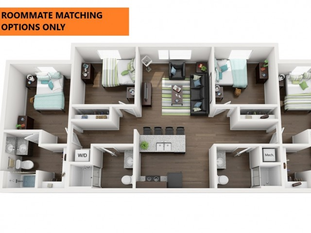 Roommate matching Options Only. 4 bedroom 4 bathroom apartment floor plan 213 Elm Street Prime Place Stillwater