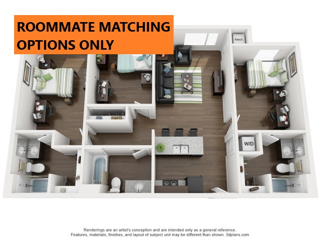 Roommate matching Options Only. 3 bedroom 3 bathroom apartment floor plan 312 Elm Street Prime Place Stillwater