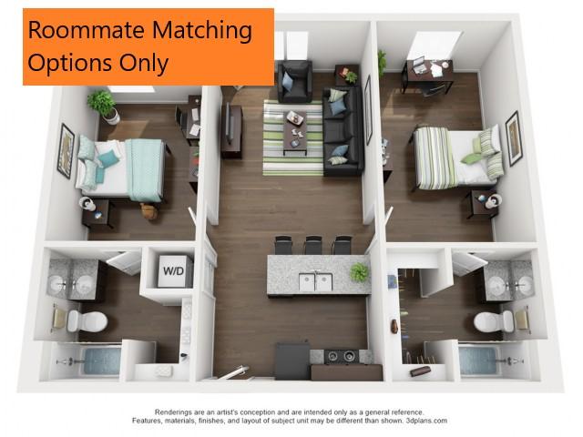 Roommate matching Option Only. 2 bedroom 2 bathroom apartment floor plan 213 Elm Street Prime Place Stillwater