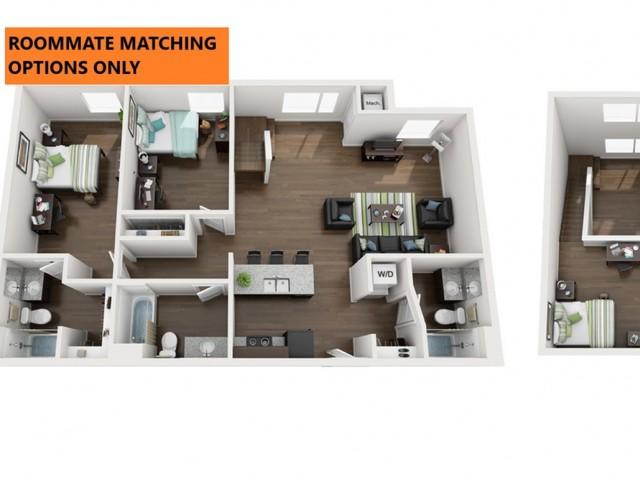 Roommate matching Option Only. 3 bedroom 3 bathroom apartment floor plan 213 Elm Street Prime Place Stillwater