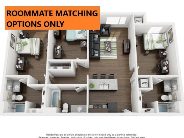 Roommate Matching only. 3 bedroom 3 bathroom apartment floor plan 213 Elm Street Prime Place Stillwater