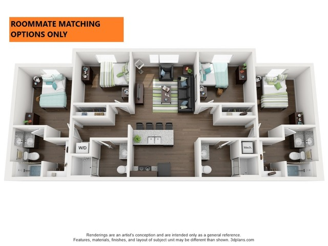 Roommate Matching Options only. 4 bedroom 4 bathroom apartment floor plan 312 Elm Street Prime Place Stillwater