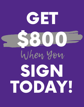 Offering a $800 bonus when you sign your lease today.