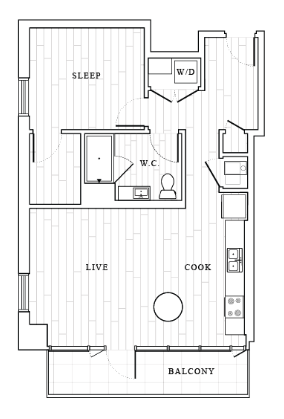 .1 Bedroom Floor Plan | Tower at OPOP Apartments | Apartments in St. Louis MO 2D
