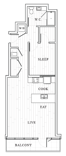 1 Bedroom Floor Plan   Tower at OPOP Apartments   Apartments in St. Louis MO 2D
