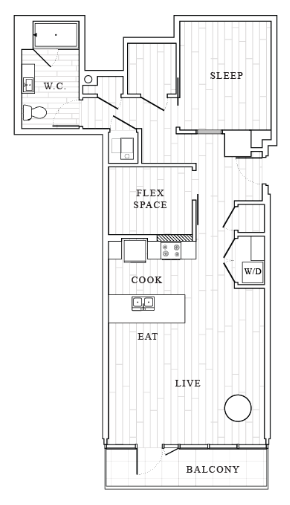 1 Bedroom Floor Plan | Tower at OPOP Apartments | Apartments in St. Louis MO 04