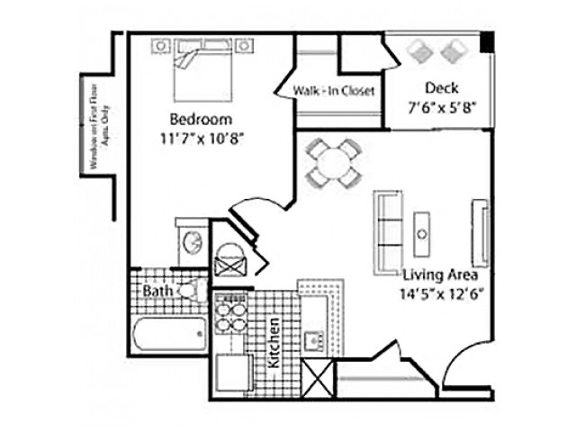A1 - 1 Bed 1 Bath - 539sqft