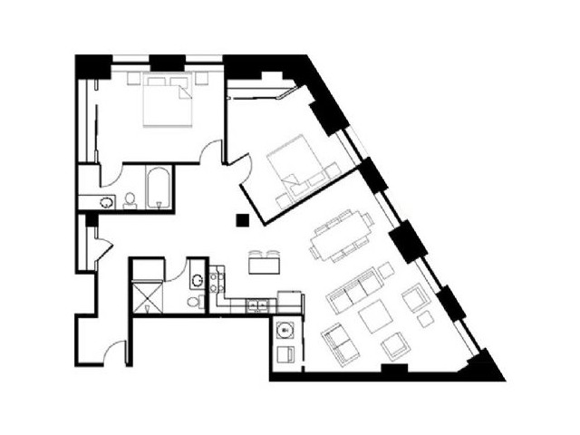 Floor Plan 05-2 Bedroom 2 Bathroom Corner Apartment
