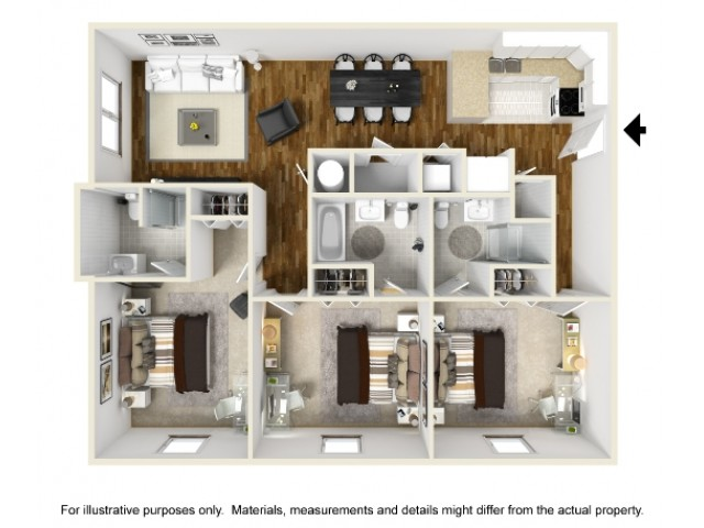 Abbotts Run Apartments - Kure Floor Plan