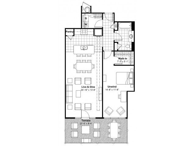 1 BR Terrace
