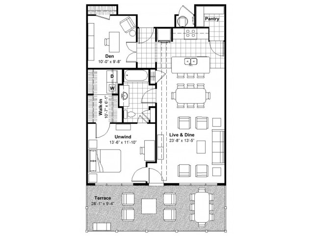 1 BR + Den Terrace