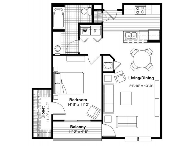 One Bedroom Floor Plan  | Apartments Kansas City, MO | Union Hill Place