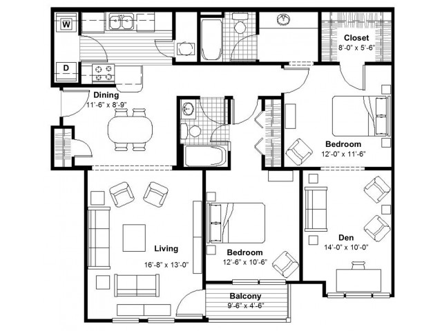 2 Bedroom with Den | Apartments Kansas City, MO | Union Hill Place