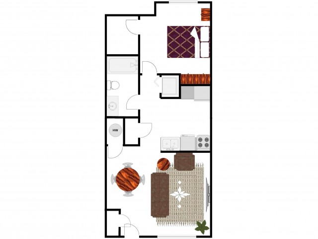1 Bedroom 1 Bath Floor Plan