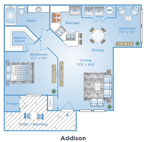 1 Bedroom Floor Plan | East Orlando Apartments | Polos East