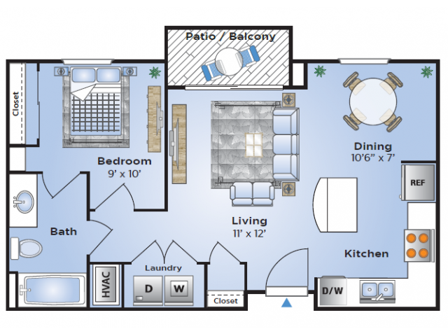 1 Bedroom Floor Plan | Luxury Apartments In Birmingham AL | Station 121