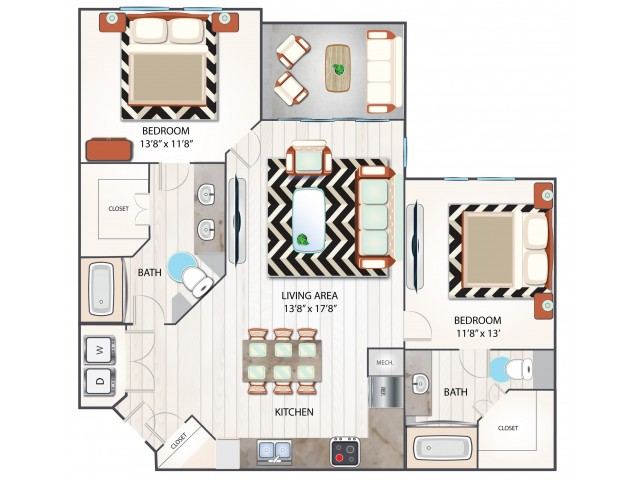 2 Bedroom Floor Plan | Luxury Apartments In Clermont Florida | Advenir at Castle Hill