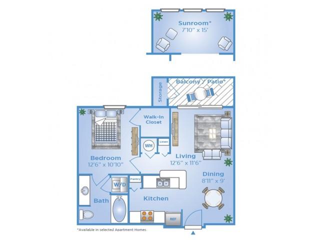 One Bedroom Floor Plan | Apartments on Beltway 8 | Advenir at Wynstone