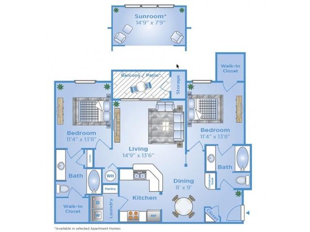 Two Bedroom Floor Plan | Apartments on Beltway 8 | Advenir at Wynstone