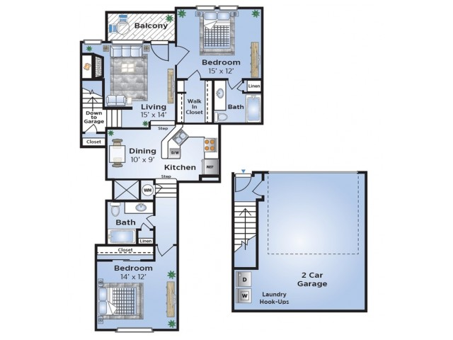 Floor Plan 3 | Dallas Luxury Townhomes For Rent | Advenir at Prestonwood