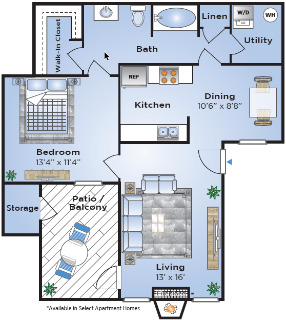 1 Bdrm Floor Plan | Lake Charles Apartments | Advenir at Lake Charles