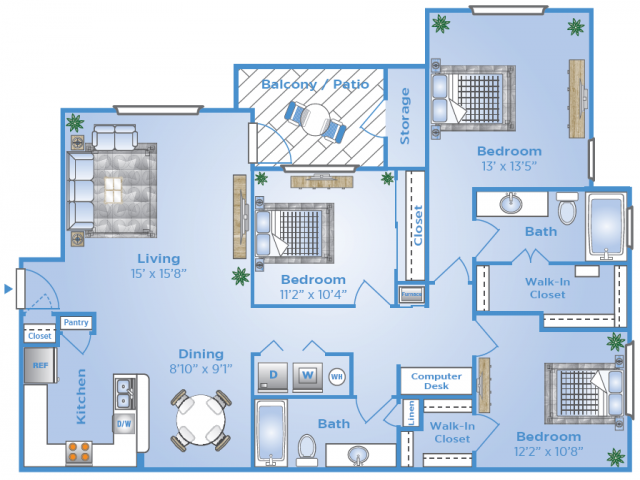 3 Bdrm Floor Plan | Apartments In Sugar Land Tx | Advenir at Milan