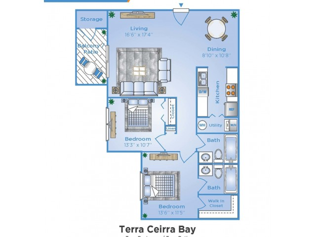 2 Bedroom Floor Plan | Luxury Apartments In Sarasota Florida | Advenir at Gateway Lakes