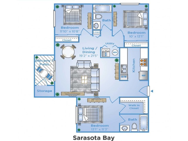 3 Bedroom Floor Plan | Luxury Apartments In Sarasota Florida | Advenir at Gateway Lakes
