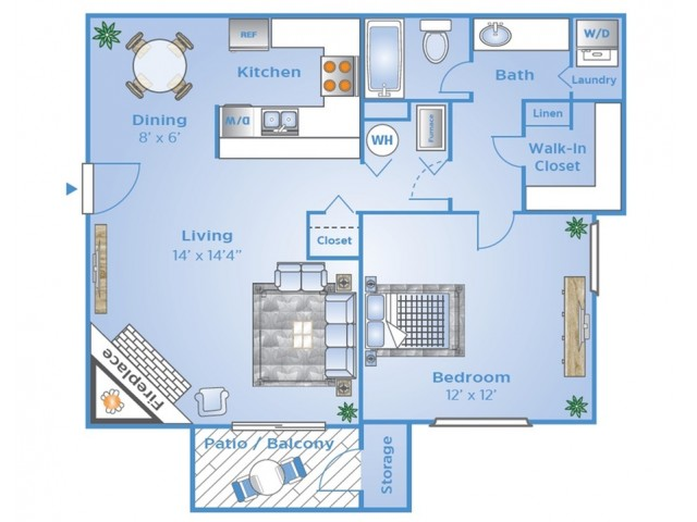 Lookout Point  1 Bedroom Floorplan