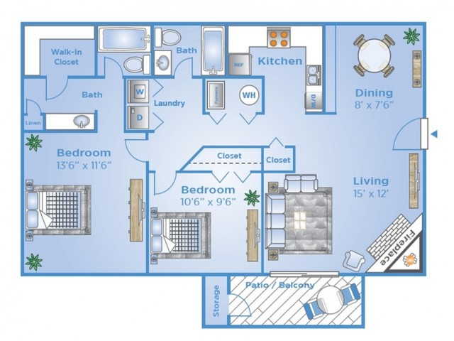 2 Bedroom Windy Peak Floorplan