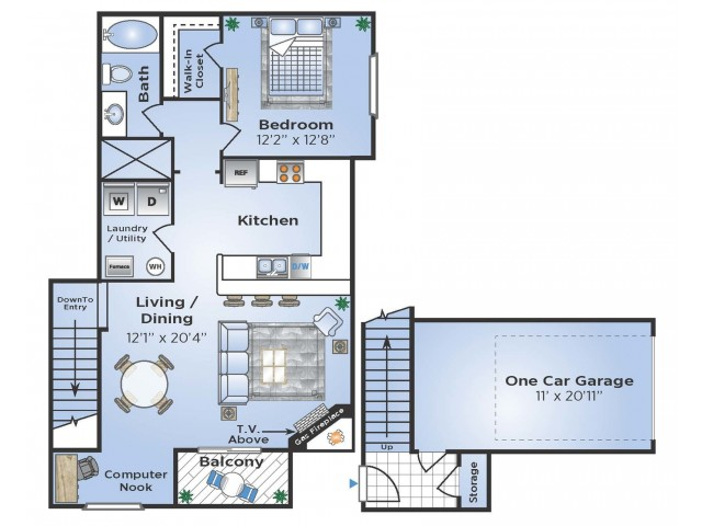 1 Bedroom Floor Plan | Apartments In Aurora Colorado