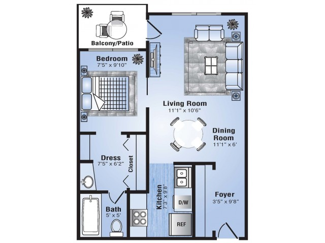 1 Bedroom Floor Plan | Apartments In Stapleton Co | Advenir at Stapleton
