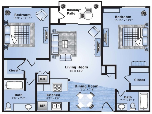 2 Bedroom Floor Plan | Apartments In Stapleton | Advenir at Stapleton