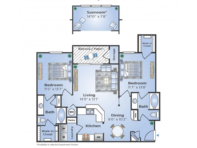 2 Bdrm Floor Plan | Humble Texas Apartments | Advenir at Eagle Creek